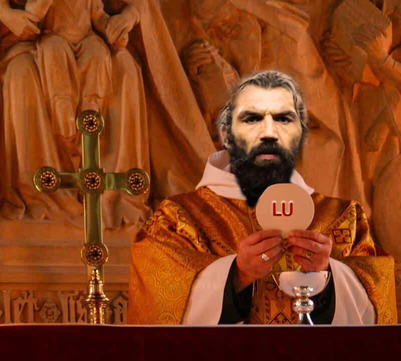 Le père Chabal prie et mange des sablés