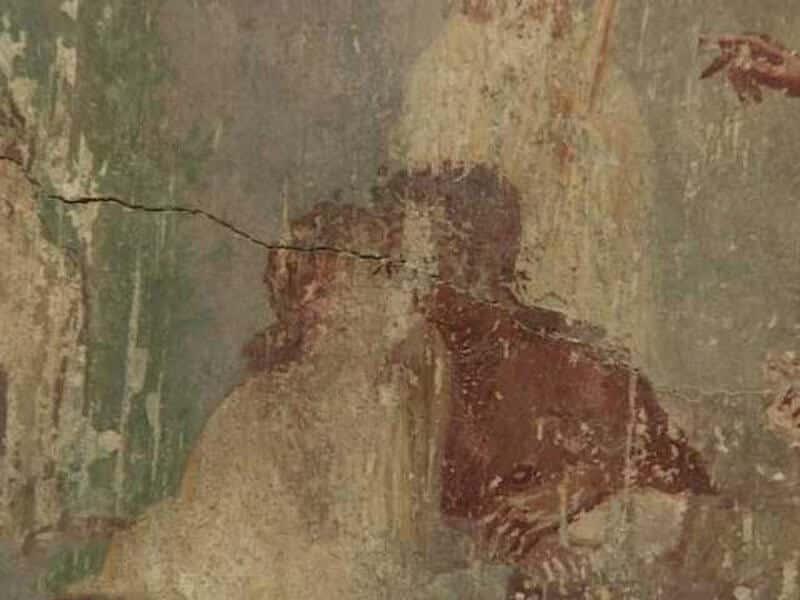 Baiser entre amants - fresque ruine de pompei