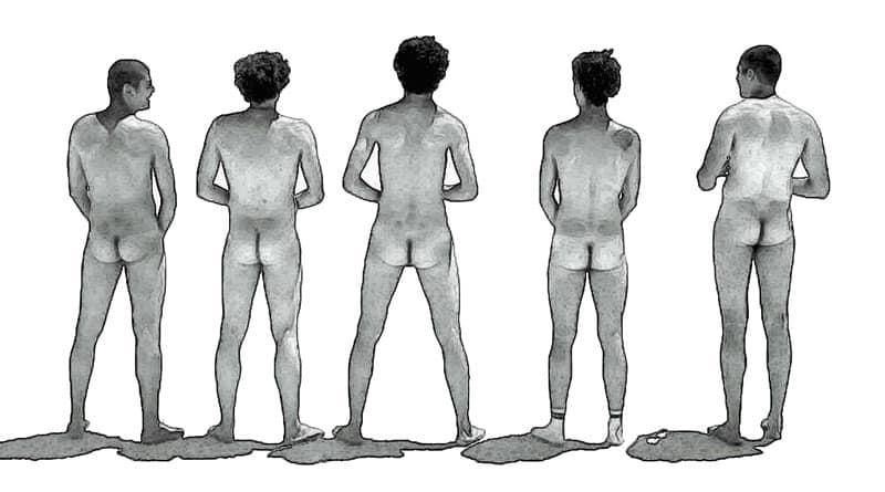 5 hommes de dos